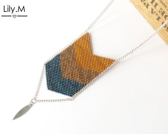 Woven Necklace Chevron Miyuki seed, Camel and Blue Lily.M