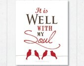 it is well with my soul . frameable print with birdies