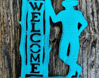 BOLD cast iron cowboy welcome sign // turquoise aqua blue // rustic country western metal signs // shabby chic outdoor decor