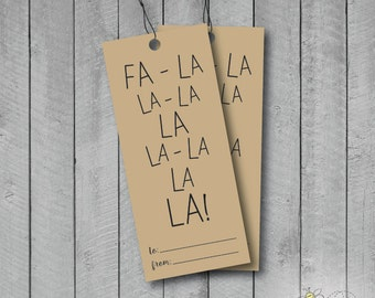 Holiday Happy Fa La La La La Hanging Gift Tags - Set of 5