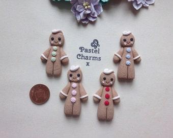 Clay Flatback christmas kawaii gingerbread man embellishments deco topper