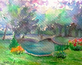 Nature painting, nature watercolor, nature art, small painting art, small watercolor art, landscape painting, watercolor landscape art wall