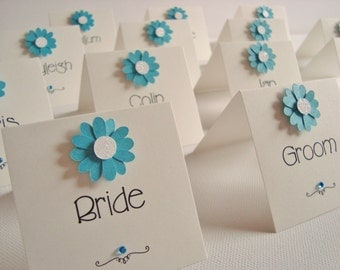 Personalised Handmade Daisy Flower Wedding Place Cards (Pack of 10)