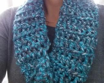 Crocheted Infinity Scarf in Blues & Grays