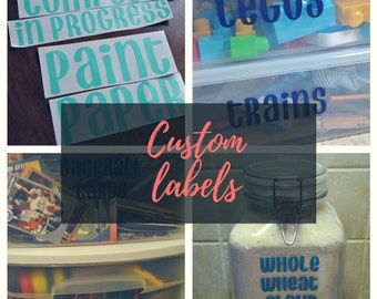 Custom Vinyl Labels - Pantry Labels - Toy Labels - Office Labels - Organization Solution - Personalized Labels - Create Your Own Labels