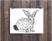 "Rabbit Art, Rabbit Drawing, Black and White Art, Pen and Ink Rabbit, Pen and Ink Art, Pattern Art, 5"" x 7"" Art Print, Print, Pen Drawing"