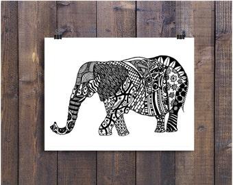 Elephant Art, Black and White Art, Pen and Ink Animals, Elephant 4 x 6 Print, Elephant Drawing, Nursery Art, Ink Elephant, Doodle Art