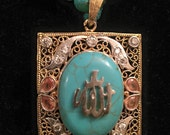 Allah pendant with a rectangle design, turquoise, bead necklace,