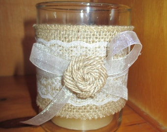 Wedding decor, burlap and lace, ribbon candle holder, table decorations