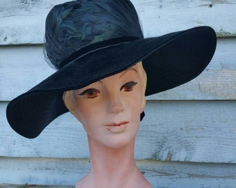 SALE**Vintage Wide Brim Black Velvet and Feather Hat // Kutz Nannet Chapeau // Black Widow Funeral