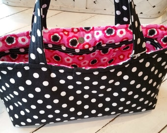 Black and White Polka Dot Purse with Pink Liner