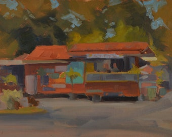 Kauai - Hawaii - North Shore - Hanalei Bay - Juice Stand - Fruit - Fresh Squeezed - Island - Plein Air - Oil Painting - Landscape -Beachside