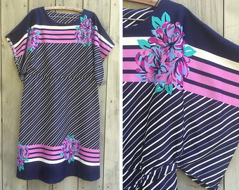 Vintage dress | Plus-size vintage split sleeve striped floral print knit dress