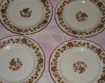 "Lot of Four Vintage Royal York China Plates, Hohenberg, Germany, ""Falstaff"" Pattern, 7 & 7/8"""