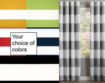 Horizontal Stripe Curtain >SALE Curtains Custom Made Designer Drapes