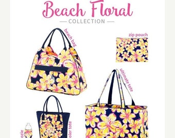 ON SALE Beach Floral Collection/ Many items to choose from/ Cooler, Coozie, Accessory Bag and More/ Beach Trip Luggage/ Beach bag set/ Brida