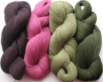 Linen Yarn Pink Purple Moss Green 400 gr (14 oz ), Cobweb / 1 ply, each hank contains approximately 3000 yds