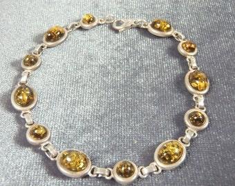 Sterling Silver Baltic Amber Bracelet B34