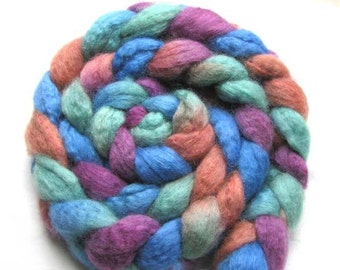 Hand Painted BFL/Tussah Silk Roving (Combed Top) 4 oz
