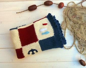Nautical wool baby blanket, newborn blue blanket