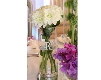 Etched Monogram Vase