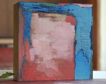 """tiny abstract composition #4  4x4 oil & collage on 1.5"""" artist panel"""