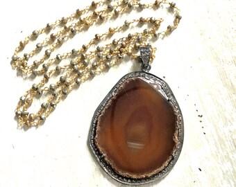 Geode Pave Diamond Necklace