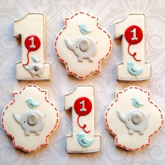 First birthday Number 1 (one) Elephant and Red Balloons - One Dozen Decorated Sugar Cookies