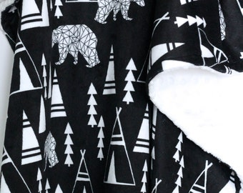 Teepee Forest Minky Baby Blanket-Bear Blanket-Teepee Blanket-Baby Boy-Baby-Monochromatic Blanket