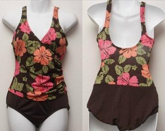 """90's Vintage """"HAZEL"""" One-Piece Floral Patterned Swimsuit Sz: 8"""