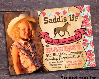 Shabby Horse Invitation, Girls Horse Invitation, Cowgirl Invitation, Cowgirl Party, Girl's Horse Party, Girl's Western Party, Western Invite