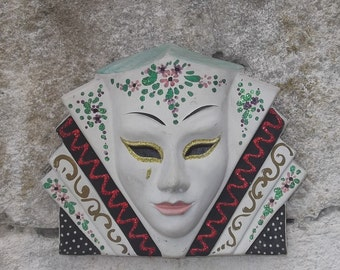 SALE Antique Wall Mask, Art Deco Plaster Carnival Wall Mask, Old Venetian Hand Painted Chalkware Wall Mask