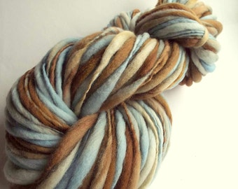 Pastel thick and thin yarn, chunky merino knitting wool, pale blue, ivory and browns, big knitting wool