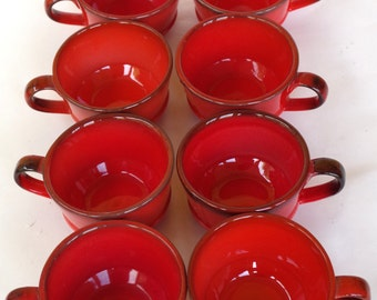 Metlox Poppytrail Mugs Set of 8 Red Orange with Brown Ombre Effect Ceramic