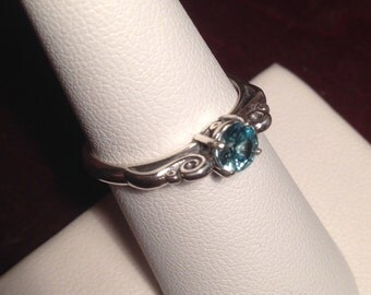 Caribbean Blue Natural Zircon Ring Oxidized Sterling Silver Scroll Solitaire Ring Size 7 December Birthstone