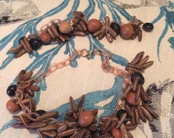 Vintage nut seed tribal tropical necklace bracelet set