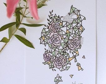 Geometric Roses - Original Watercolour + Ink Pen Art Drawing - Size A4 - (unframed)