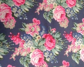 """1/2m Cath Kidston. Cotton Upholstery Fabric. Bloomsbury Bouquet in Deep Slate Blue.  (19"""" x 57"""") Heavy Canvas. Bag Making Supplies."""