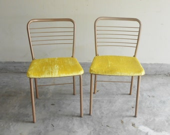 Mid Century Modern Folding Cosco Pair of  Chairs New Yellow Velvet Upholstery 1950s Game Table Seating