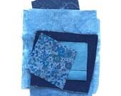 Hand dyed indigo fabrics, bundle of fabric, indigo dyed, french vintage linens