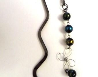 bookmark  multicolor beads and Silver flower women bookmark-handmade jewel-