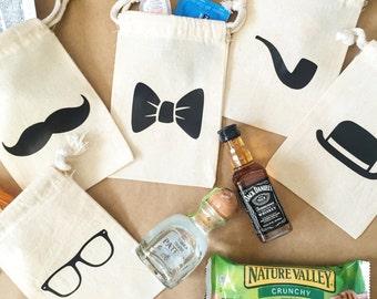 Groomsman gift bag- bachelor party bag- hangover kit- groomsmen kit- party favor- bachelor hangover bag- mustache bag- bow tie bag- hangover