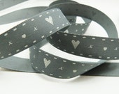 Grey And White Hearts And Kisses Print Ribbon 15mm Wide Per Metre