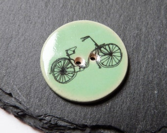Mint Green Round Bicycle Print Ceramic Button 25mm