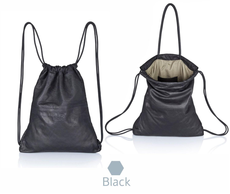 Black leather backpack purse multi leather bag SALE soft