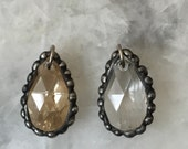 Swarovski Crystal Teardrop, Clear or Champagne, Sparkly, Soldered, Assorted, Charm, Pendant