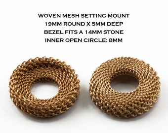 30 Steampunk Settings, 14mm  Round Vintage Brass Mesh Cabochon Bezel Mounts, Woven Wire, Unique Unusual Jewelry Finding, Natural Patina