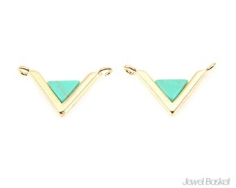 Turquoise Triangle Pendant in Gold - Turquoise Charm / 20mm x 11mm / STQG089-P (2pcs)