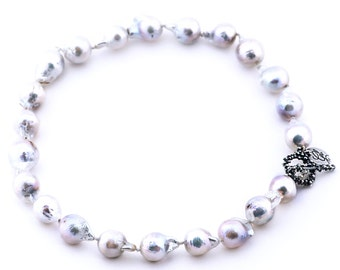Statement necklace with white pearls - unique piece