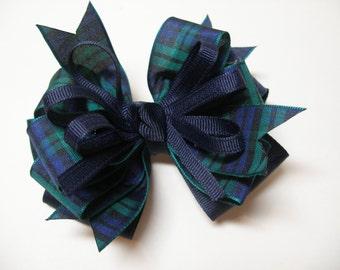 BLACKWATCH Plaid Christmas School Uniform Hair Bow Toddler to Big Girl 4 inch Boutique Navy
